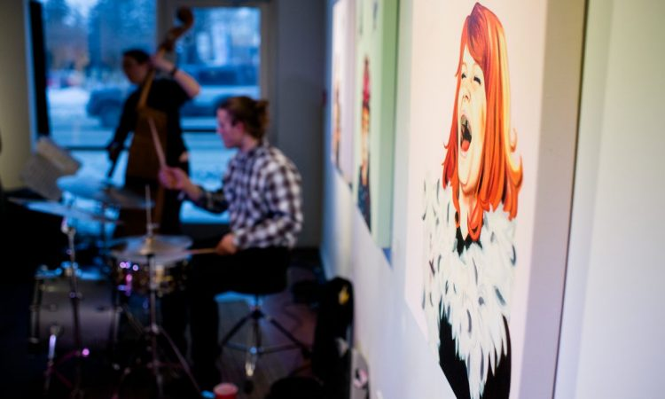 Leah Harmon Trio, Art by Jennie Vegt, Opening Ceremonies 2017. Photo by Brittany Paige Balser.