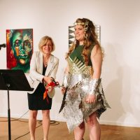 2016 Honorary Skirt, Rachel Notley, with winner of the Skirt Design Competition, designed by Jane Kline, Opening Ceremonies 2016. Photo by Mat Simpson.