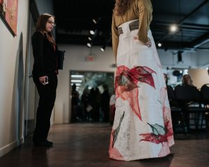 """""""Sustenance"""" by Amanda Brown, Skirt Design Competition 2018 Winner. Photo by April MacDonald Killins."""