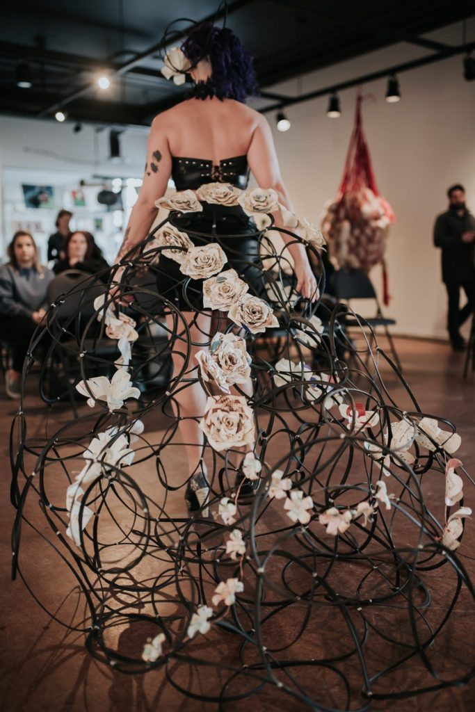 """""""ReTyred Flora"""" by Melissa Squire, Skirt Design Competition 2018, """"A Skirt From Abroad."""" Photo by April MacDonald Killins."""