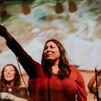 Stephanie Harpe, Words Unzipped: UnWoven 2018. Photo by April MacDonald Killins.