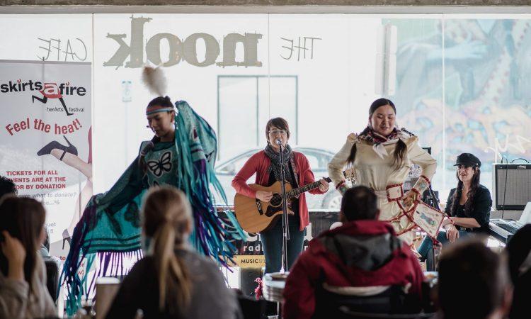 Lana Gilday (singer) with Kaycee and Lizzy Saddleback (dancers), SkirtsAfire 2019. Photo by April MacDonald Killins.