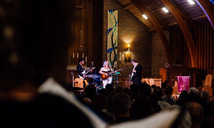 Maddie Storvold & the Moonlighters performs with choirs Bella Voce and ChandraTala at Songs in the Sanctuary 2020. Photo by BB Collective.
