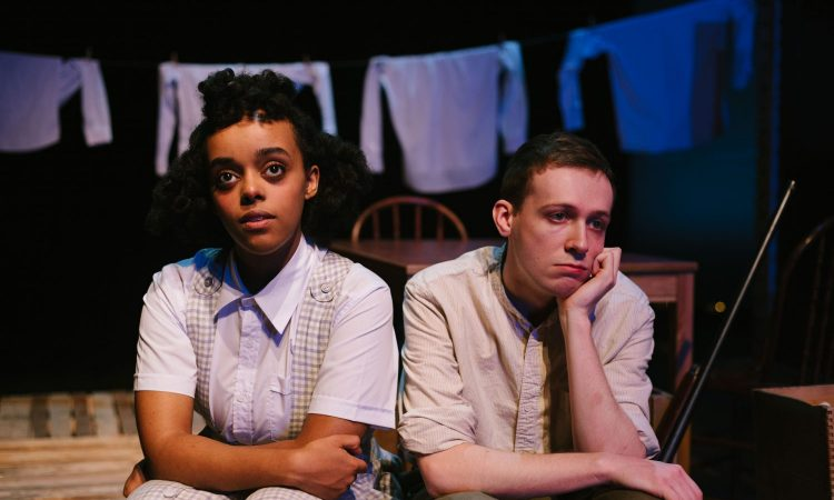 Helen Belay and Isaac Andrew, The Blue Hour by Michele Vance Hehir. SkirtsAfire 2020. Set and Costume Design by Megan Koshka. Lighting Design by T. Erin Gruber. Photo by BB Collective.