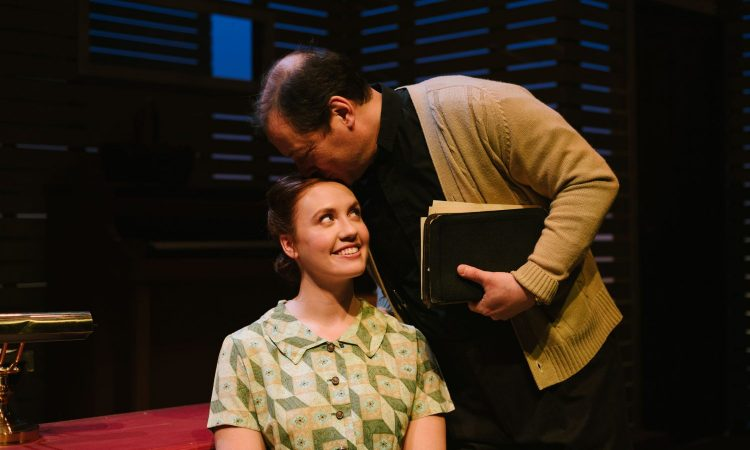 Bonnie Ings and Ian Leung, The Blue Hour by Michele Vance Hehir. SkirtsAfire 2020. Set and Costume Design by Megan Koshka. Lighting Design by T. Erin Gruber. Photo by BB Collective.