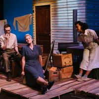 Isaac Andrew, Nicole St. Martin and Helen Belay, The Blue Hour by Michele Vance Hehir. SkirtsAfire 2020. Set and Costume Design by Megan Koshka. Lighting Design by T. Erin Gruber. Photo by BB Collective.