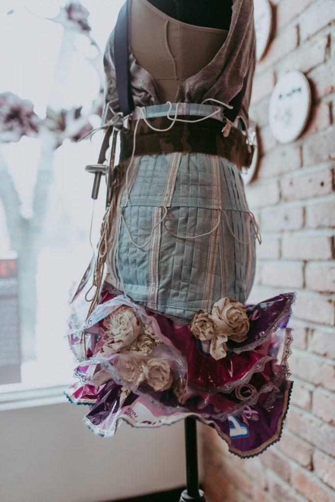 """""""Pandemic Warfare"""" by Lorraine Dezman, Skirt Design Competition 2021. Photo by April MacDonald Killins."""